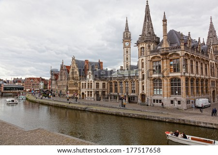 GHENT, BELGIUM - JUNE 13,2012. Views of the historical downtown Ghent. By quantity of historical monuments Ghent takes the second place in Belgium.