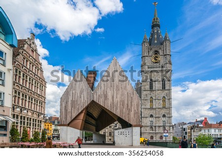 GHENT, BELGIUM - MAY 12, 2014: New market hall. Designed by architects Robbrecht & Daem and Marie-Jose Van Hee, this new edifice gracing Emile Braun square was built to become a new landmark in city.