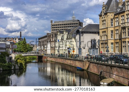 GHENT, BELGIUM - MAY 12, 2014: View of Ghent city center. Ghent is a city and a municipality located in the Flemish region of Belgium, capital and largest city of the East Flanders province.