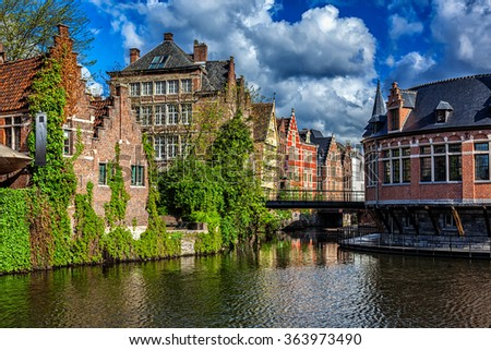 Ghent canal and old houses, Ghent, Belgium - stock photo