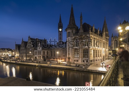GHENT, FLANDERS/BELGIUM SEPTEMBER 03. Tourists and locals enjoy a summers night in bars and restaurants on Graslei in Ghent