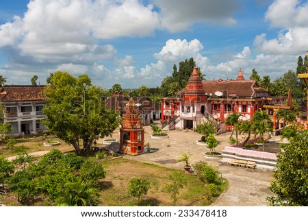 Ghositaram Khmer pagoda located in the Cu Lao village, Hung Hoi commune, Vinh Loi district Bac Lieu, Vietnam , is the most beautiful khmer theravada buddhist temple in the mekong delta . - stock photo
