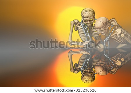 Ghost coming abstraction from human skeleton best for Halloween background