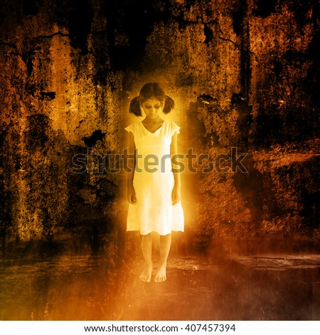 Ghost girl,Scary background for halloween ideas - stock photo