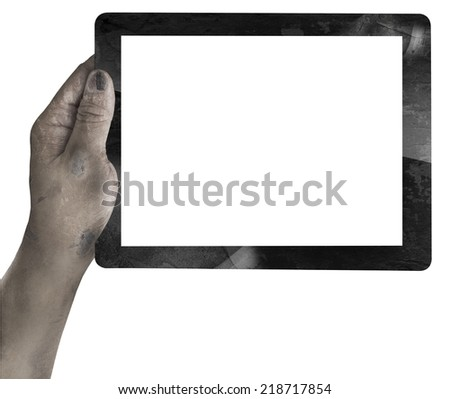 ghost hand with tablet  isolated on white for halloween - stock photo