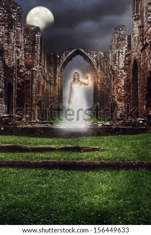 Ghost holding lamp haunting the steps of a ruined abbey