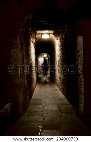 Ghost in an alley - stock photo