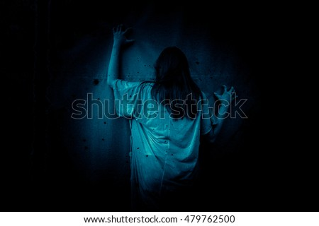Ghost In Haunted HouseHorror Background For Halloween Concept And Movie Poster Project