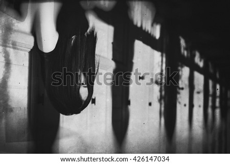 Ghost in Haunted House, Mysterious Woman, Horror scene of scary woman's, Angry Ghosts. (Vintage Film Style Process) - stock photo