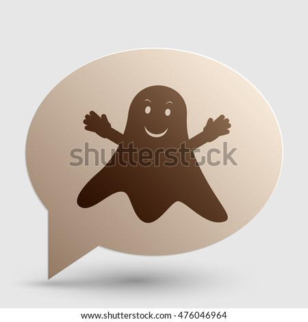Ghost isolated sign. Brown gradient icon on bubble with shadow.