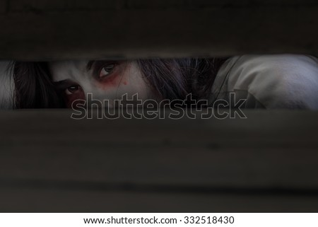 ghost on Halloween  fear  make-up ghost selective focus - stock photo
