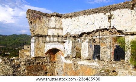 Ghost Town, ancient Greek city Kayakoy in Turkey. - stock photo