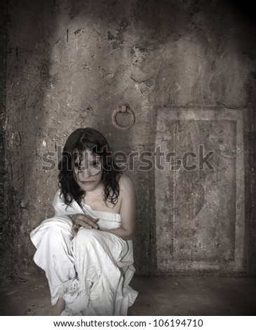ghost witch in the dark grunge basement, abstract of death unique concept - stock photo