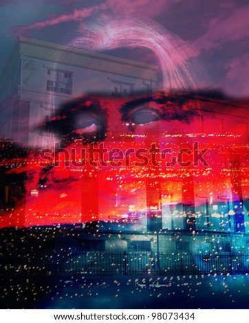 Ghost with no eyes over night city and haunted mansion - stock photo