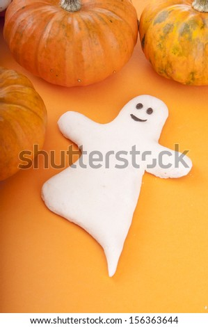 Ghost with pumpkin - stock photo