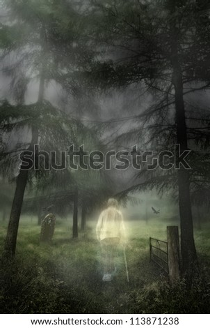 Ghostly figure of an elderly gentleman walking into a woodland graveyard - stock photo