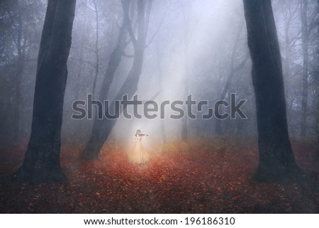 Ghostly girl playing the violin in a foggy forest - stock photo