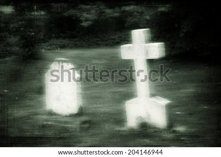 Ghostly Tombstone Cross in Cemetery