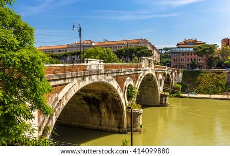 Giacomo Matteotti bridge on the Tiber River in Rome, Italy - stock photo