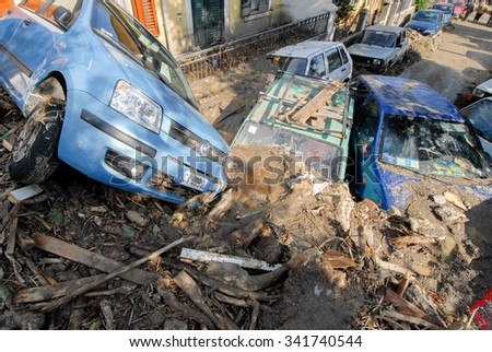 Giampilieri,Italy -  October 3,  2009. A landslide has invaded the Sicilian town causing many deaths. The collapse of a mountain caused hundreds of tons of earth and rock fell on buildings and cars.