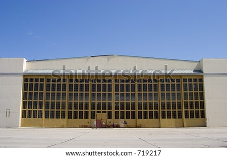 Giant Airplane Hangar - stock photo