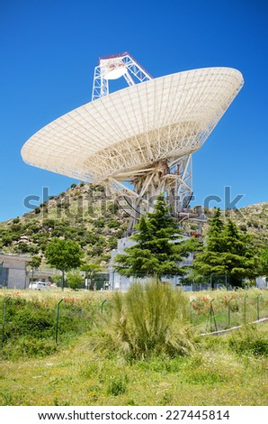 Giant Antenna in Nasa Deep Space complex in robledo de Chavela, Madrid, Spain. - stock photo