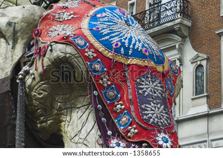 Giant artificial Elephant made mostly from wood on a visit in central London. - stock photo