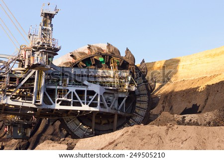 Giant bucket wheel excavator - stock photo