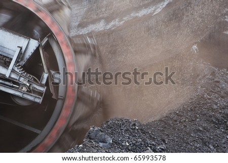 Giant bucket wheel excavator for digging the brown coal, Czech Republic - stock photo