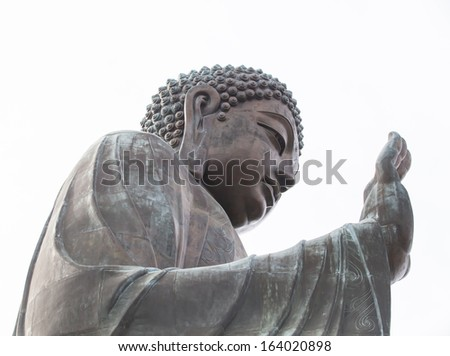 Giant Buddha/Po Lin Monastery in Hong Kong, Lantau Island - stock photo