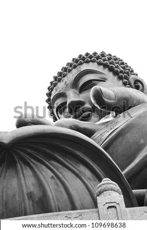 Giant Buddha sitting on lotusl. Hong Kong - stock photo