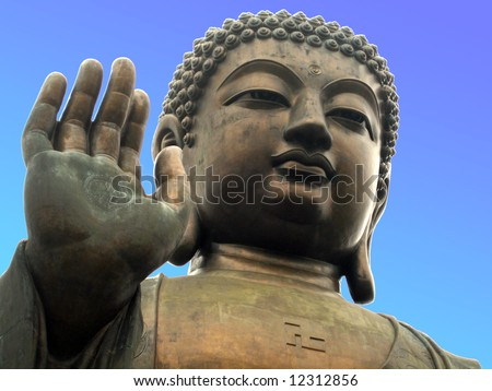Giant Buddha Statue on Lantau Island, Hong Kong - stock photo
