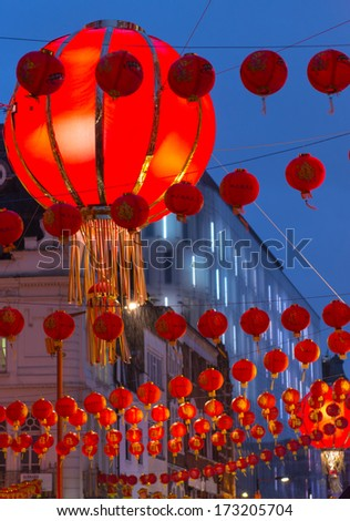 Giant Chinese lanterns in London's Chinatown - stock photo