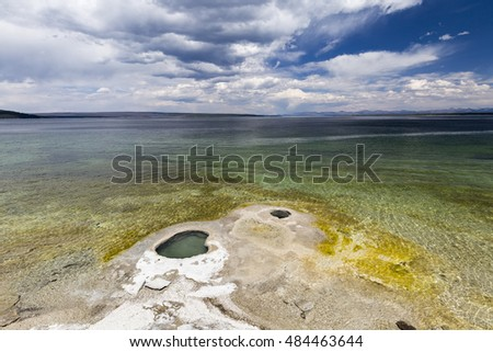 Giant Cone at the shore of Yellowstone Lake, West Thumb Geyser Basin, Yellowstone National Park