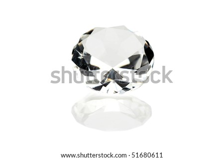 Giant Diamond on white with reflections - stock photo