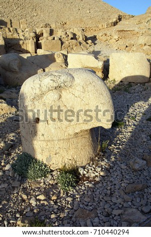 Giant eagle head on  tumulus of Nemrut Dag,  Turkey