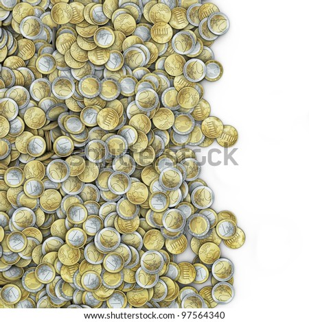 Giant euro coins spill - stock photo