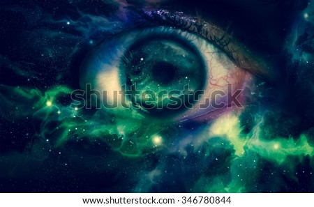 Giant eyeball starscape backdrop with colorful space clouds - stock photo