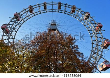 Giant ferris wheel in Vienna - stock photo