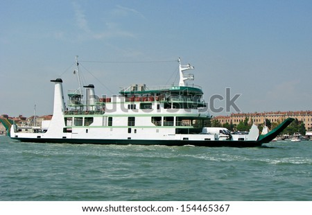 giant ferryboat for the transport of people and cars in the lagoon of Venice in Italy