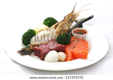 Giant Freshwater Prawn and Fish, Vegetables