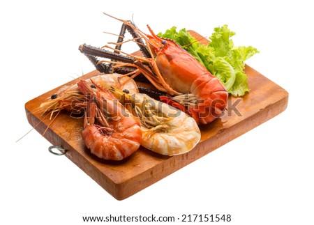 Giant Freshwater Prawn and king prawns isolated - stock photo