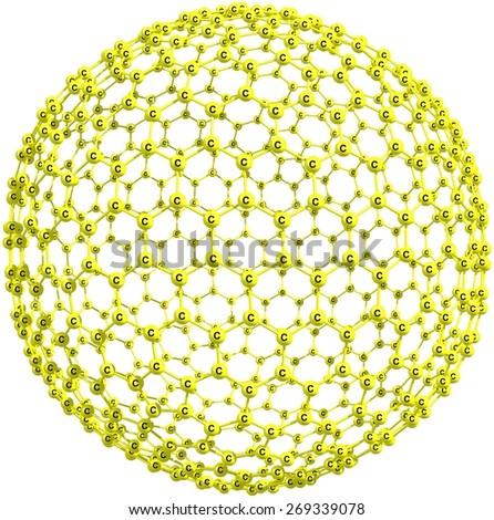 Giant fullerene molecule, carbon allotrope on white background - stock photo