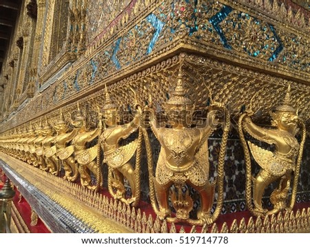 Giant gold are character in Thai literature to decorate Wat Phra Kaew inside grand palace Bangkok