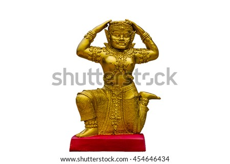 Giant gold statue on white isolated Background. - stock photo