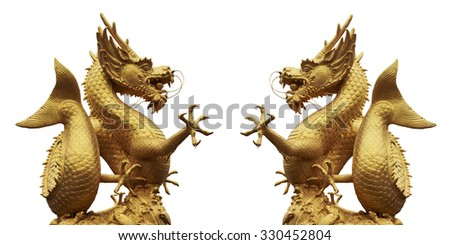 Giant golden Chinese dragon isolated on white background.This has clipping path. - stock photo