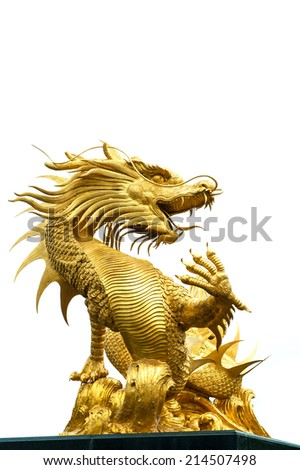 Giant golden Chinese dragon  on white background