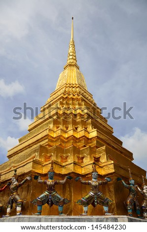giant golden pagoda in Wat Phra Kaew, full official name Wat Phra Si Rattana Satsadaram, Bangkok, Thailand,  - stock photo