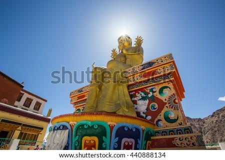 Giant golden sculpture of the Mitreya Buddha in the monastery of Likir (Likir Gompa) - Tibet, Leh district, Ladakh, Himalayas, Jammu and Kashmir, Northern India - stock photo