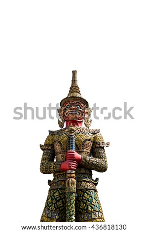 giant guard statue at thai temple isolated on white background - stock photo